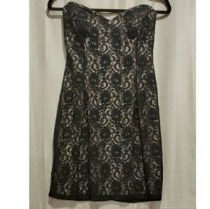 Twenty One Black Lace Form Fitting Strapless Dress